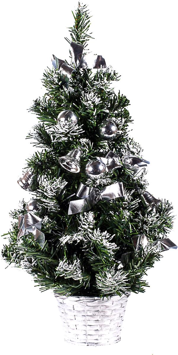 Елка настольная c игрушками Vita Pelle, 50 см. K11EL5099K11EL5054Милая наряженная елочка в корзинке украшена игрушками и мишурой. Она будет уместна и дома, и в офисе. Она преобразит пространство, подарив праздник и новогоднее настроение. Небольшой размер елочки позволит разместить ее где угодно.