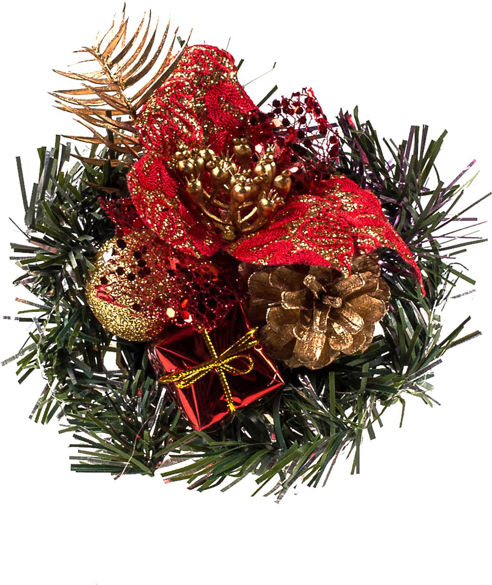 Новогодний букет в корзинке Vita Pelle, 10 см. K11kz1024K11kz1024Новогодний букет из игрушек и мишуры в корзинке