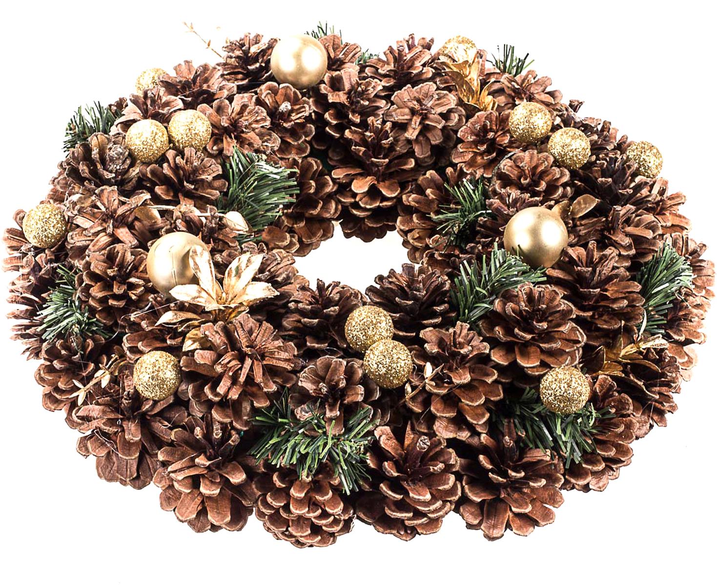 Венок рождественский Vita Pelle. K11shk2303K11shk2303Венок из сосновых шишек