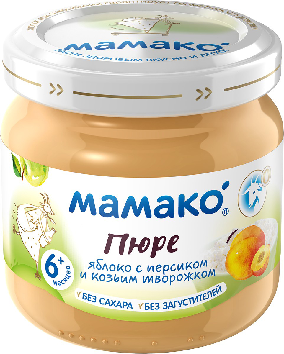 Мамако Пюре из яблок с персиками и козьим творогом, 80 гУТ-00000063Пюре Мамако из яблок с персиком и козьим творожком - это вкусный, питательный и полезный прикорм малыша! 100% натурально. В составе только фрукты и детский козий творожок - идеально для полдника. Нежный фруктово-сливочный вкус с насыщенной нотой персика нравится даже малоежкам. Это первый любимый десерт крохи. Пюре Мамако из яблок с персиком и козьим творожком - вкусная традиция здорового питания с раннего детства!Полезные свойства:- Пюре Мамако содержит 20% детского козьего творожка и обеспечивает не менее 1/3 суточной потребности ребенка в твороге.- Детский козий творожок легко и комфортно переваривается в животике малыша, является источником кальция, фосфора и незаменимых аминокислот, важных для роста малыша - Яблоко и персик богаты витаминами и минералами. Бета-каротин персика укрепляет иммунитет малыша, а высокое содержание калия положительно влияет на познавательную активность, улучшает память.- Пюре Мамако из яблок с персиком и козьим творожком - это 2 в 1: полезный прикорм и любимое лакомство малыша!