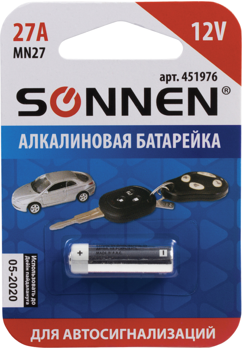 Батарейка алкалиновая Sonnen, 27А (MN27), 12В кепка ent u nk true cap core