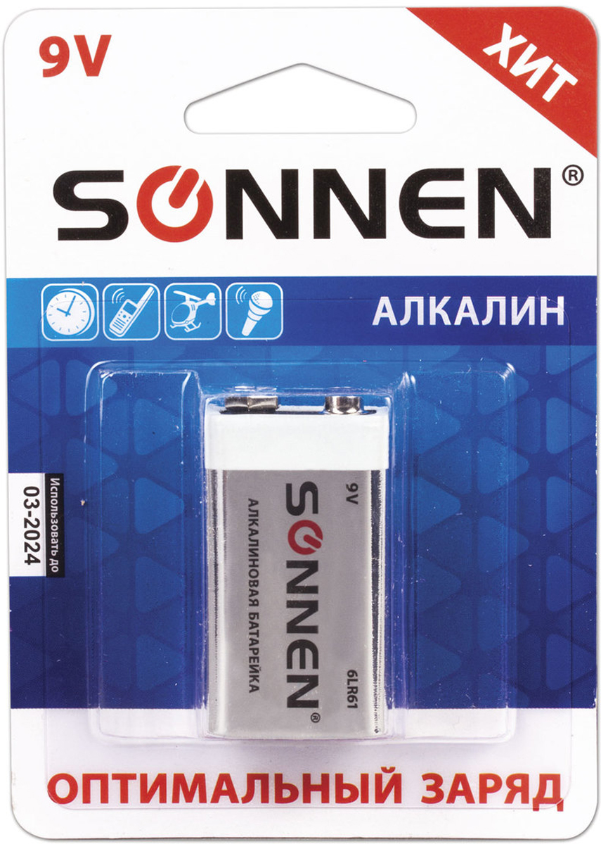 Батарейка алкалиновая Sonnen, тип Крона - 6LR61, 9В