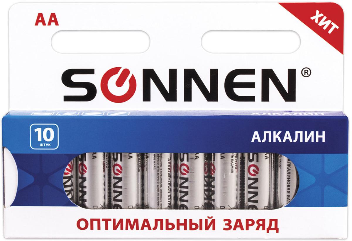 Батарейка алкалиновая Sonnen, AA (LR6), 1,5 В, 10 шт451086Алкалиновые батарейки SONNEN популярного типоразмера AA идеально подходят для приборов со средним и высоким потреблением энергии. Рекомендуется использовать в фотоаппаратах, mp3-плеерах, компьютерных мышах и пультах ДУ.