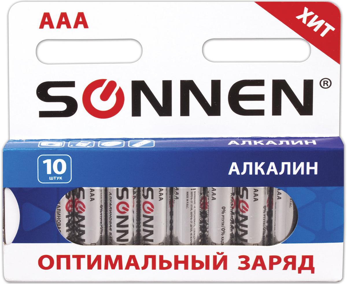 Батарейка алкалиновая Sonnen, тип - AAA-LR03, 1,5В, 10 шт. 451089451089Алкалиновые батарейки Sonnen популярного типоразмера АAA идеально подходят для приборов со средним и высоким потреблением энергии. Рекомендуется использовать в фотоаппаратах, mp3-плеерах, компьютерных мышах и пультах ДУ.