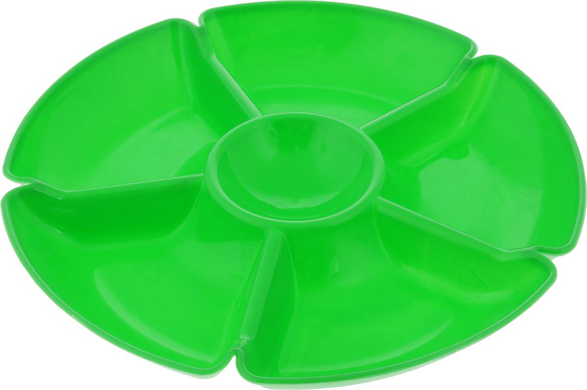 Менажница Gotoff, 6 секций, цвет: зеленый, диаметр 27,5 см. WTC-280WTC-280_зеленыйПрактичная менажница Gotoff изготовлена из качественного полипропилена.Выполненная в однотонном дизайне, такая менажница станет отличным украшением вашего интерьера.