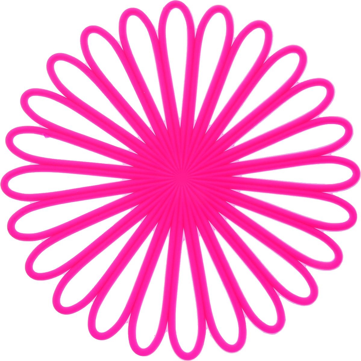 Подставка под горячее Доляна Ромашка, цвет: розовый1687503_розовыйСиликоновая подставка под горячее - практичный предмет, который обязательно пригодится в хозяйстве. Изделие поможет сберечь столы, тумбы, скатерти и клеенки от повреждения нагретыми сковородами, кастрюлями, чайниками и тарелками.