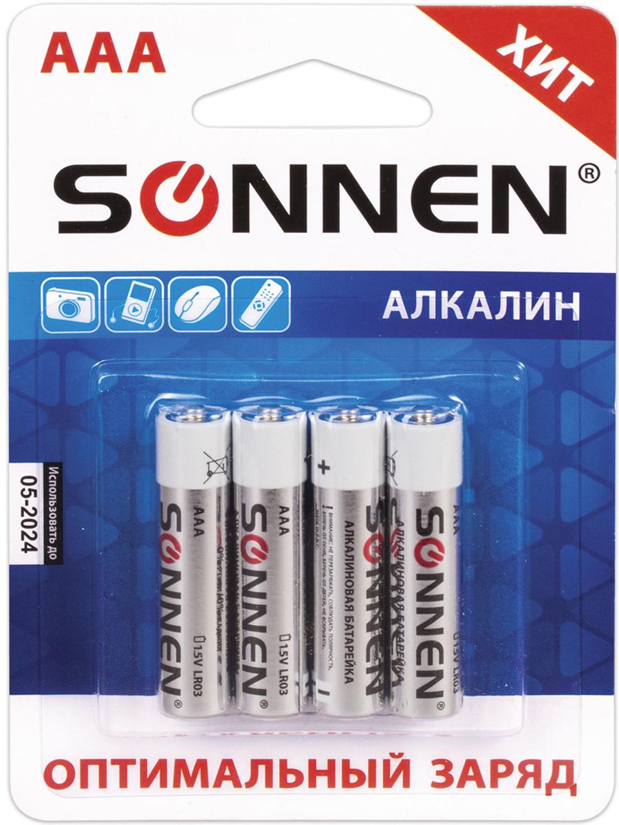 Батарейка алкалиновая Sonnen, AAA (LR03), 1,5В, 4 шт451088Алкалиновые батарейки SONNEN популярного типоразмера АAA идеально подходят для приборов со средним и высоким потреблением энергии. Рекомендуется использовать в фотоаппаратах, mp3-плеерах, компьютерных мышах и пультах ДУ.