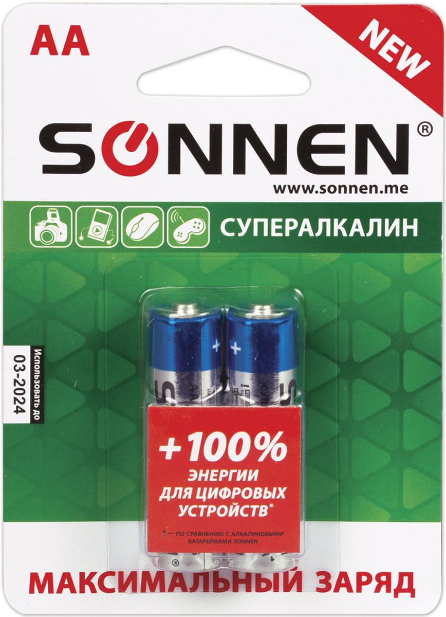 Батарейка алкалиновая Sonnen Супералкалин, AA (LR6), 1,5 В, 2 шт451093Супералкалиновые батарейки SONNEN популярного типоразмера AA идеально подходят для приборов с высоким потреблением энергии. Рекомендуется использовать в фотовспышках, mp3-плеерах, компьютерных мышах и детских игрушках.