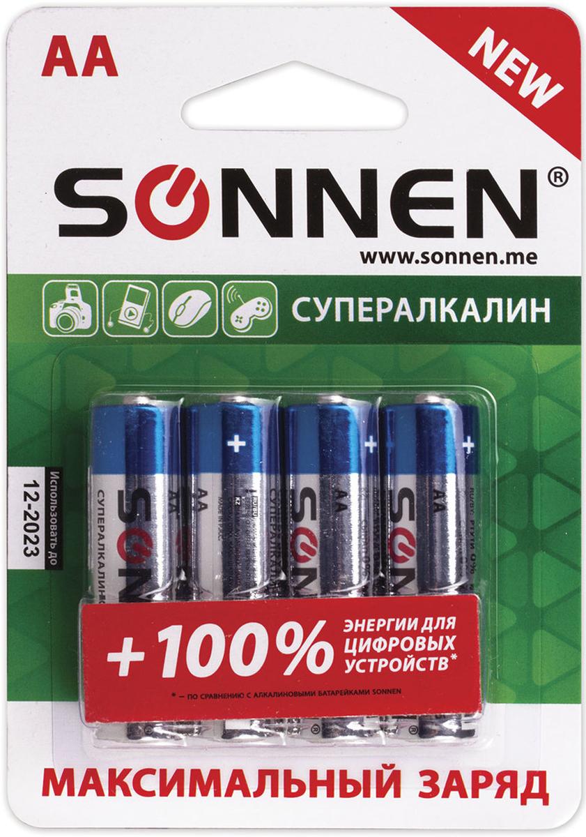 Батарейка алкалиновая Sonnen Супералкалин, AA (LR6), 1,5 В, 4 шт451094Супералкалиновые батарейки SONNEN популярного типоразмера AA идеально подходят для приборов с высоким потреблением энергии. Рекомендуется использовать в фотовспышках, mp3-плеерах, компьютерных мышах и детских игрушках.