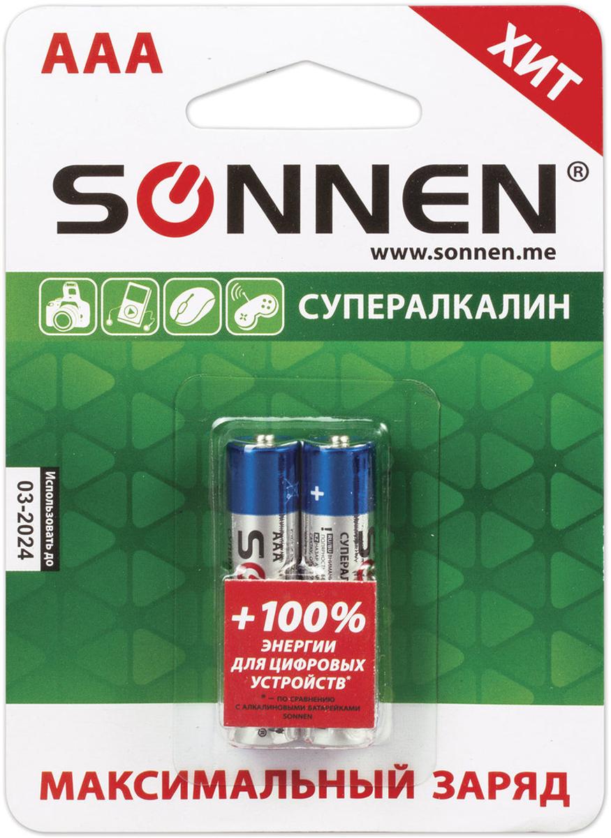 Батарейка алкалиновая Sonnen Супералкалин, AAA (LR03), 1,5В, 2 шт451095Алкалиновые батарейки SONNEN популярного типоразмера AAA идеально подходят для приборов с высоким потреблением энергии.Рекомендуется использовать в фотовспышках, mp3-плеерах, компьютерных мышах и детских игрушках.