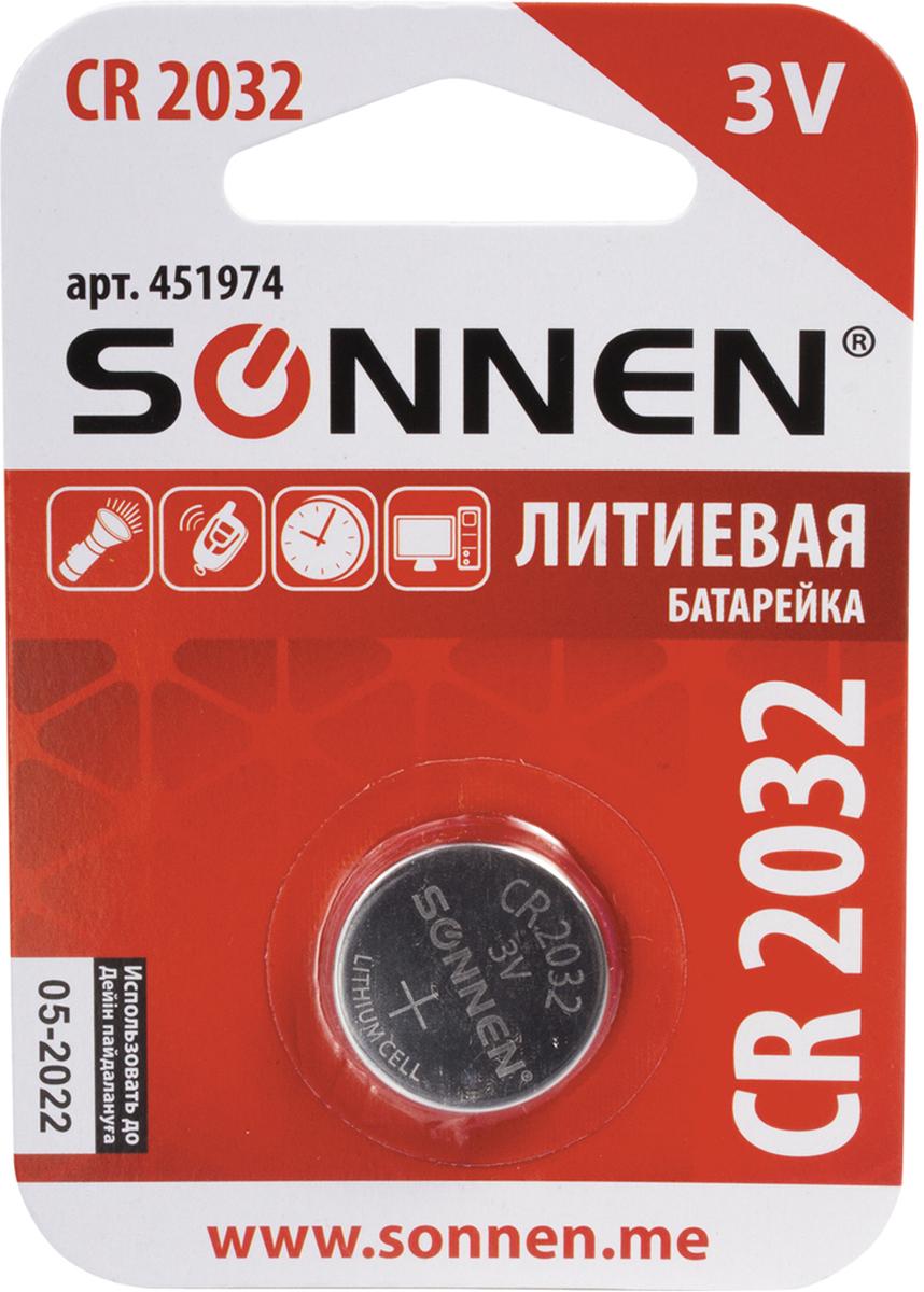 Батарейка литиевая Sonnen, тип CR2032-таблетка, 3В451974Литиевые дисковые батарейки Sonnen обладают повышенной емкостью и применяются в компьютерномоборудовании, пультах сигнализаций, часах, калькуляторах и другой электронной технике, требующейстабильного напряжения питания в течение длительного времени.