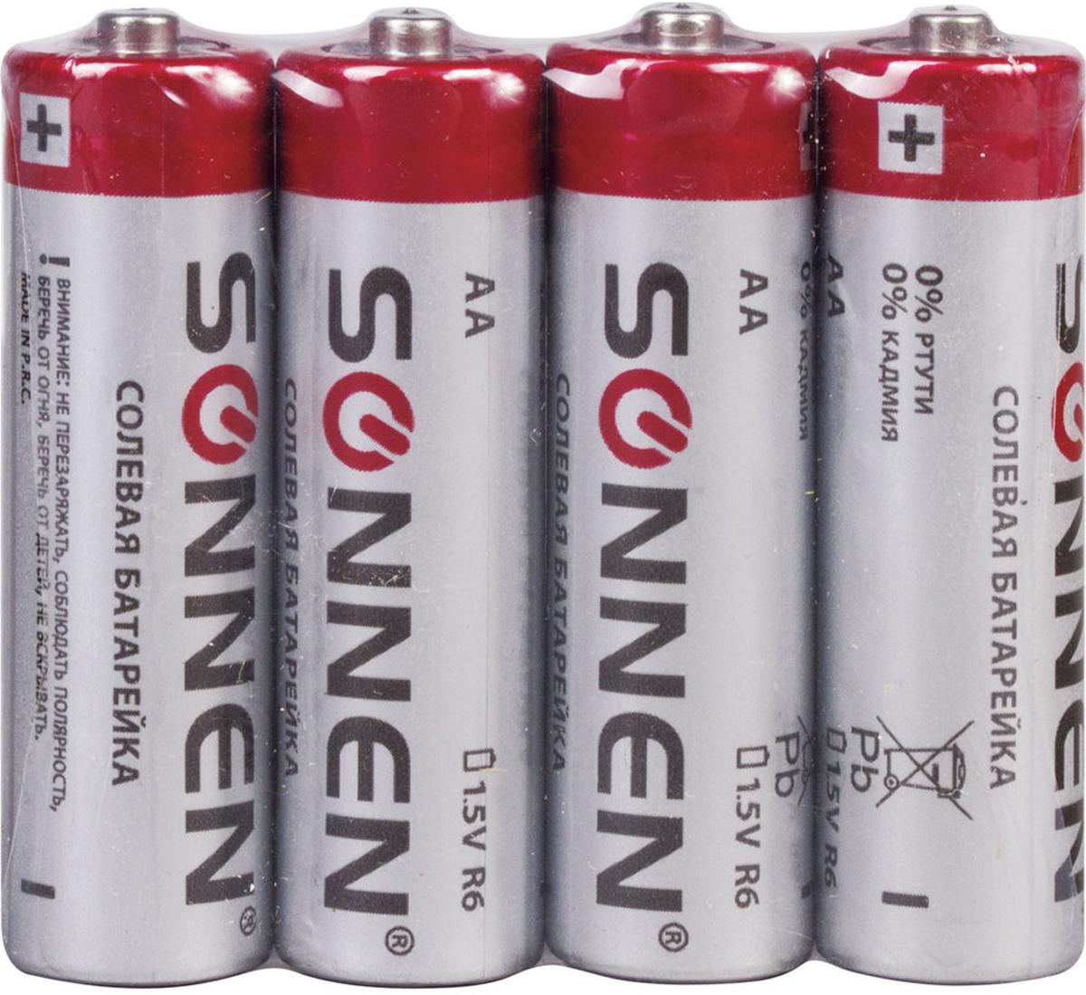 Батарейка солевая Sonnen, тип AA-R6, 1,5В, 4 шт451097Солевые батарейки Sonnen популярного типоразмера AA идеально подходят для приборов с низким потреблением энергии. Рекомендуется использовать в электронных будильниках, пультах ДУ, радиоприемниках и фонарях.