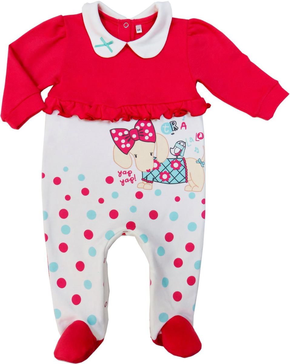Комбинезон домашний для девочек Soni Kids Прогулка с Мими, цвет: розовый, белый. З7102014. Размер 62З7102014Удобный детский комбинезон от Soni Kids послужит идеальным дополнением к гардеробу ребенка. Комбинезон изготовлен из натурального хлопка - интерлока, благодаря чему он необычайно мягкий и легкий, не раздражает нежную кожу младенца и хорошо вентилируется, а эластичные швы приятны телу малыша и не препятствуют его движениям. Комбинезон с длинными рукавами, отложным воротником и закрытыми ножками имеет застежки-кнопки на спинке и ластовице, которые помогают легко переодеть ребенка или сменить подгузник. Низ рукавов дополнен широкими эластичными манжетами, не пережимающими запястья малыша. На талии имеется небольшая рюша. Низ изделия декорирован принтом. Комбинезон полностью соответствует особенностям жизни ребенка в ранний период, не стесняя и не ограничивая его в движениях!