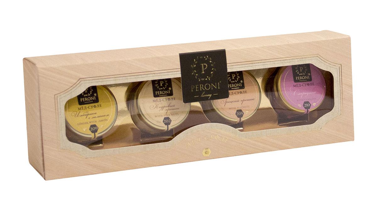 Peroni Энерджи мед-суфле подарочный набор, 4 х 30 г peroni кедровый орешек мёд суфле 220 г