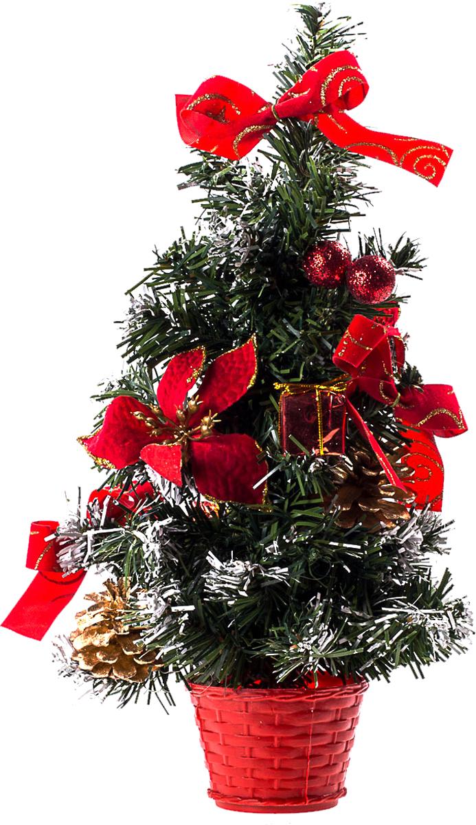Елка настольная c игрушками Vita Pelle, 30 см. K11EL17016K11EL17016Милая наряженная елочка в корзинке украшена игрушками и мишурой. Она будет уместна и дома, и в офисе. Она преобразит пространство, подарив праздник и новогоднее настроение. Небольшой размер елочки позволит разместить ее где угодно.