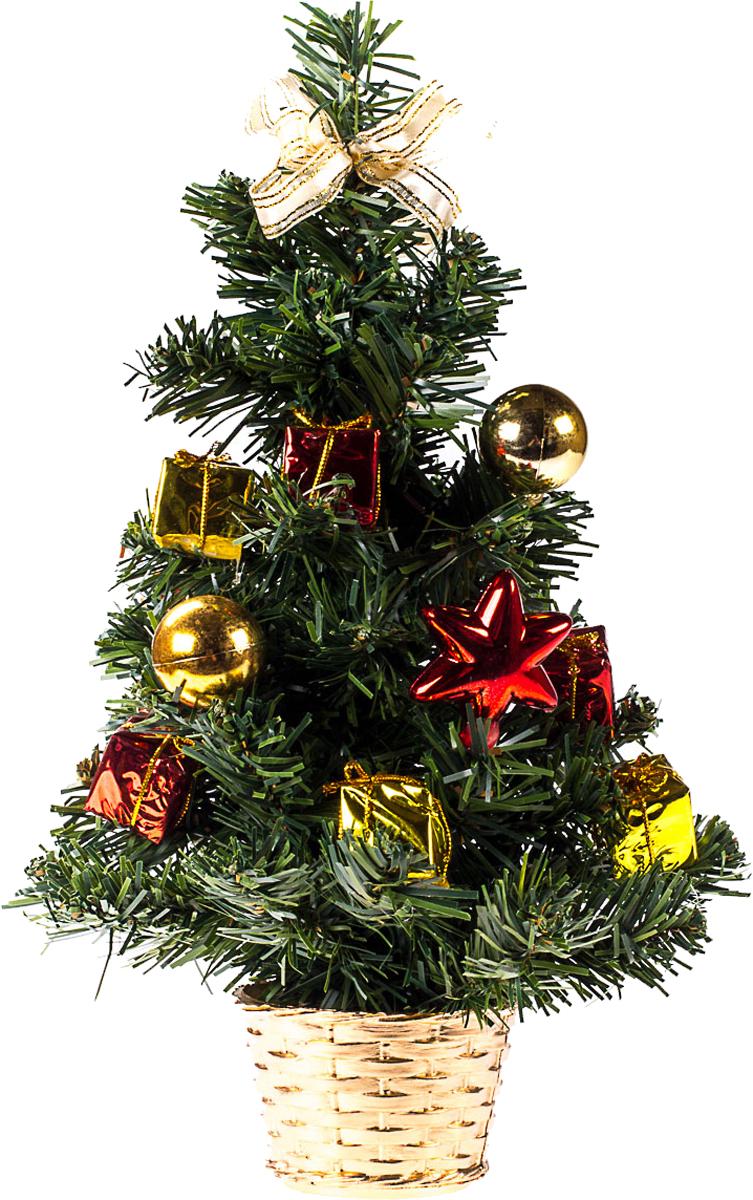 Елка настольная c игрушками Vita Pelle, 30 см. K11EL17019K11EL17019Милая наряженная елочка в корзинке украшена игрушками и мишурой. Она будет уместна и дома, и в офисе. Она преобразит пространство, подарив праздник и новогоднее настроение. Небольшой размер елочки позволит разместить ее где угодно.