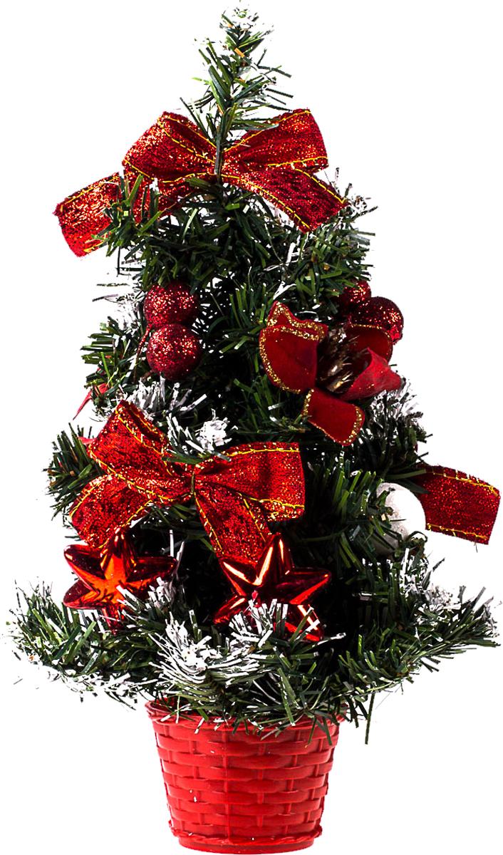 Елка настольная c игрушками Vita Pelle, 30 см. K11EL17020K11EL17020Милая наряженная елочка в корзинке украшена игрушками и мишурой. Она будет уместна и дома, и в офисе. Она преобразит пространство, подарив праздник и новогоднее настроение. Небольшой размер елочки позволит разместить ее где угодно.