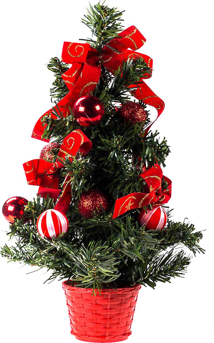 Елка настольная c игрушками Vita Pelle, 30 см. K11EL17022K11EL17022Милая наряженная елочка в корзинке украшена игрушками и мишурой. Она будет уместна и дома, и в офисе. Она преобразит пространство, подарив праздник и новогоднее настроение. Небольшой размер елочки позволит разместить ее где угодно.