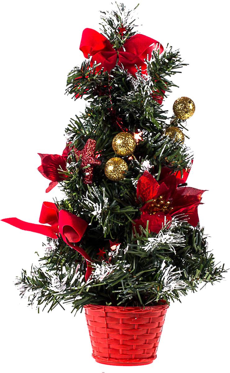 Елка настольная c игрушками Vita Pelle, 30 см. K11EL17023K11EL17023Милая наряженная елочка в корзинке украшена игрушками и мишурой. Она будет уместна и дома, и в офисе. Она преобразит пространство, подарив праздник и новогоднее настроение. Небольшой размер елочки позволит разместить ее где угодно.