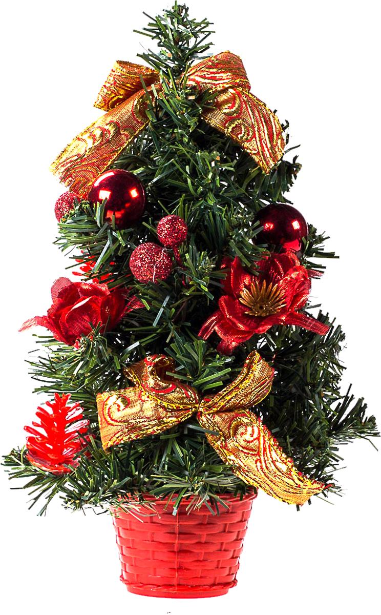 Елка настольная c игрушками Vita Pelle, 30 см. K11EL17024K11EL17024Милая наряженная елочка в корзинке украшена игрушками и мишурой. Она будет уместна и дома, и в офисе. Она преобразит пространство, подарив праздник и новогоднее настроение. Небольшой размер елочки позволит разместить ее где угодно.
