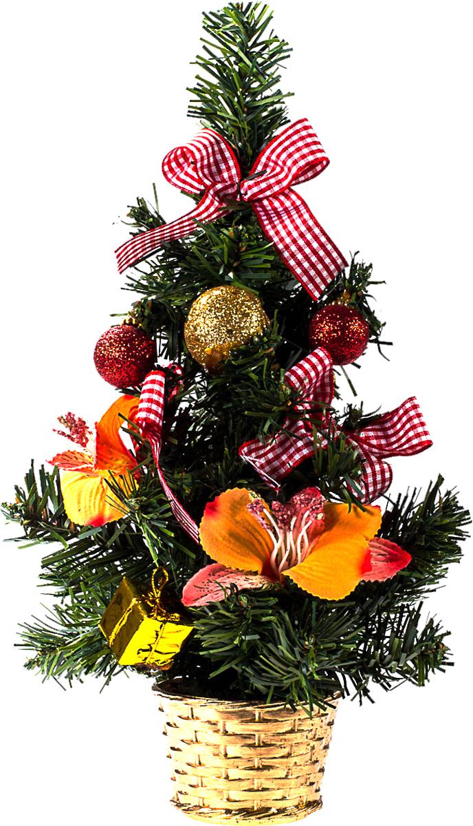 Елка настольная c игрушками Vita Pelle, 30 см. K11EL17025K11EL17025Милая наряженная елочка в корзинке украшена игрушками и мишурой. Она будет уместна и дома, и в офисе. Она преобразит пространство, подарив праздник и новогоднее настроение. Небольшой размер елочки позволит разместить ее где угодно.