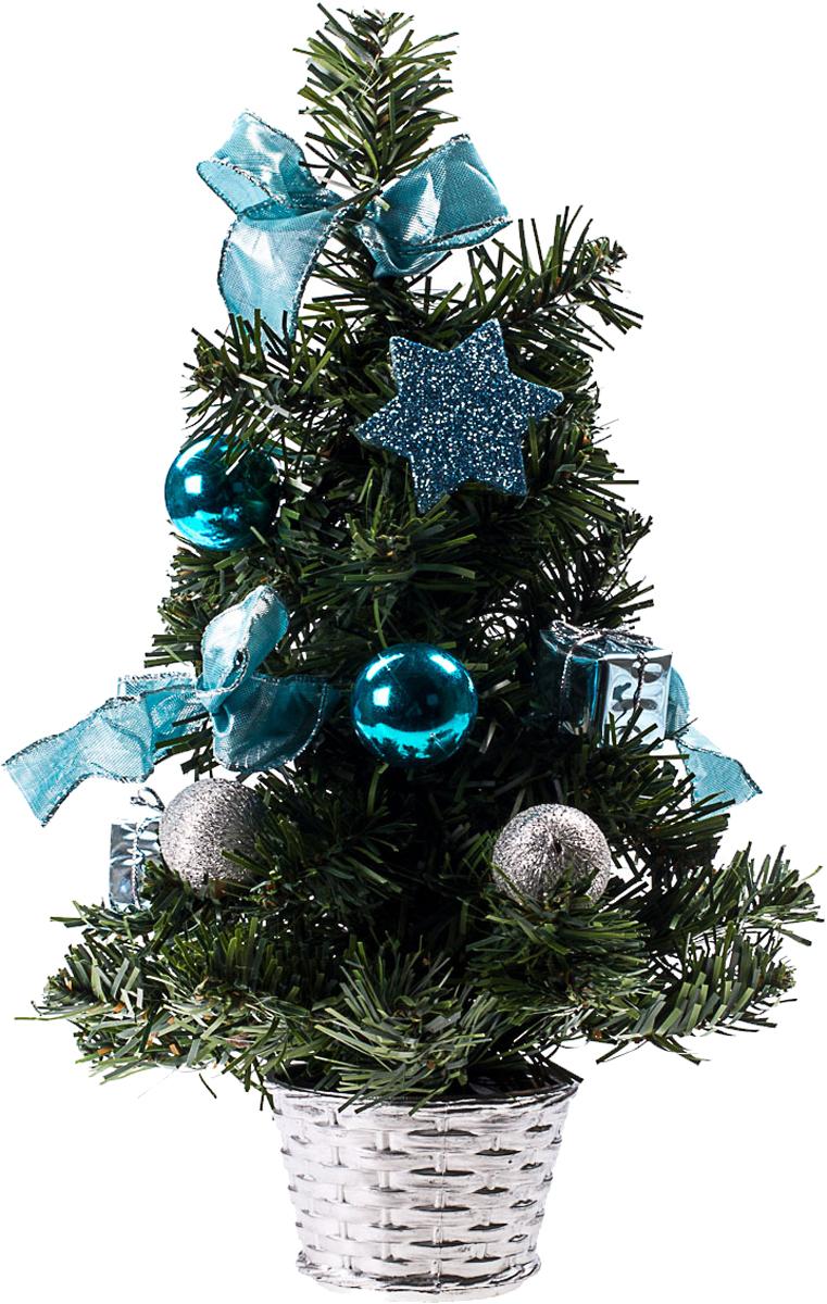 Елка настольная c игрушками Vita Pelle, 30 см. K11EL17027K11EL17027Милая наряженная елочка в корзинке украшена игрушками и мишурой. Она будет уместна и дома, и в офисе. Она преобразит пространство, подарив праздник и новогоднее настроение. Небольшой размер елочки позволит разместить ее где угодно.