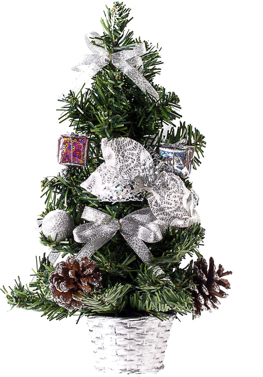 Елка настольная c игрушками Vita Pelle, 30 см. K11EL17029K11EL17029Милая наряженная елочка в корзинке украшена игрушками и мишурой. Она будет уместна и дома, и в офисе. Она преобразит пространство, подарив праздник и новогоднее настроение. Небольшой размер елочки позволит разместить ее где угодно.