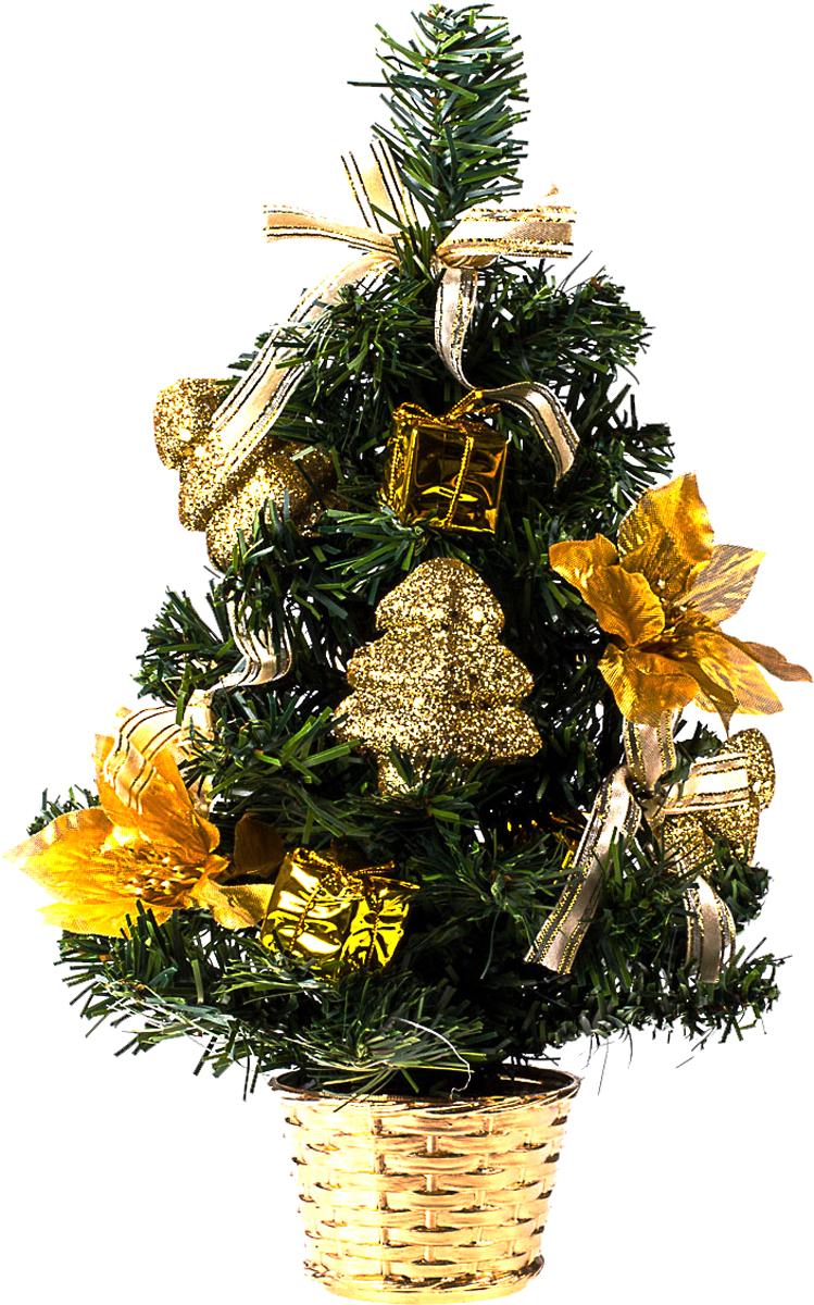Елка настольная c игрушками Vita Pelle, 30 см. K11EL17031K11EL4020Милая наряженная елочка в корзинке украшена игрушками и мишурой. Она будет уместна и дома, и в офисе. Она преобразит пространство, подарив праздник и новогоднее настроение. Небольшой размер елочки позволит разместить ее где угодно.