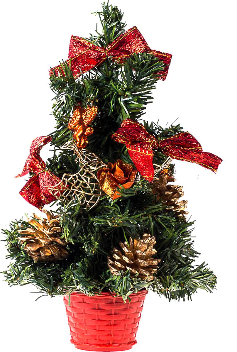 Елка настольная c игрушками Vita Pelle, 30 см. K11EL17032K11EL17032Милая наряженная елочка в корзинке украшена игрушками и мишурой. Она будет уместна и дома, и в офисе. Она преобразит пространство, подарив праздник и новогоднее настроение. Небольшой размер елочки позволит разместить ее где угодно.