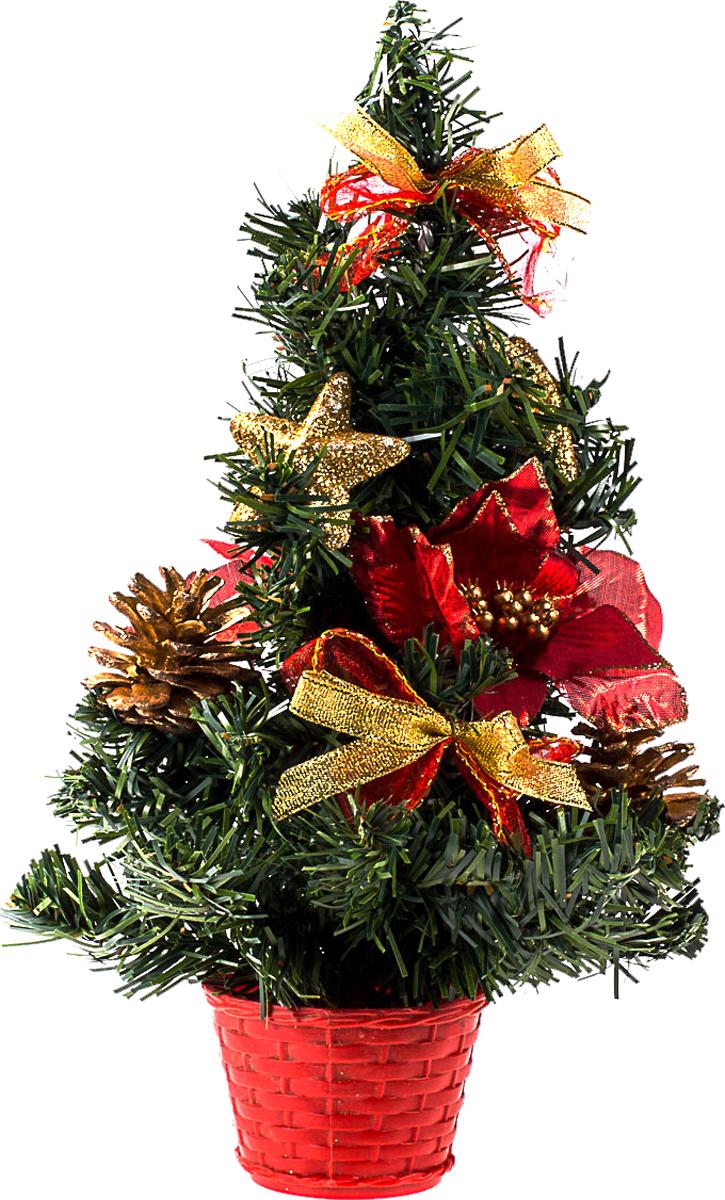 Елка настольная c игрушками Vita Pelle, 30 см. K11EL17033K11EL17033Милая наряженная елочка в корзинке украшена игрушками и мишурой. Она будет уместна и дома, и в офисе. Она преобразит пространство, подарив праздник и новогоднее настроение. Небольшой размер елочки позволит разместить ее где угодно.