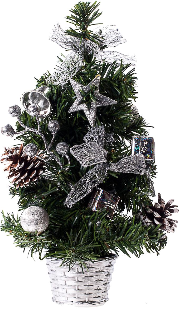 Елка настольная c игрушками Vita Pelle, 30 см. K11EL17034K11EL17034Милая наряженная елочка в корзинке украшена игрушками и мишурой. Она будет уместна и дома, и в офисе. Она преобразит пространство, подарив праздник и новогоднее настроение. Небольшой размер елочки позволит разместить ее где угодно.