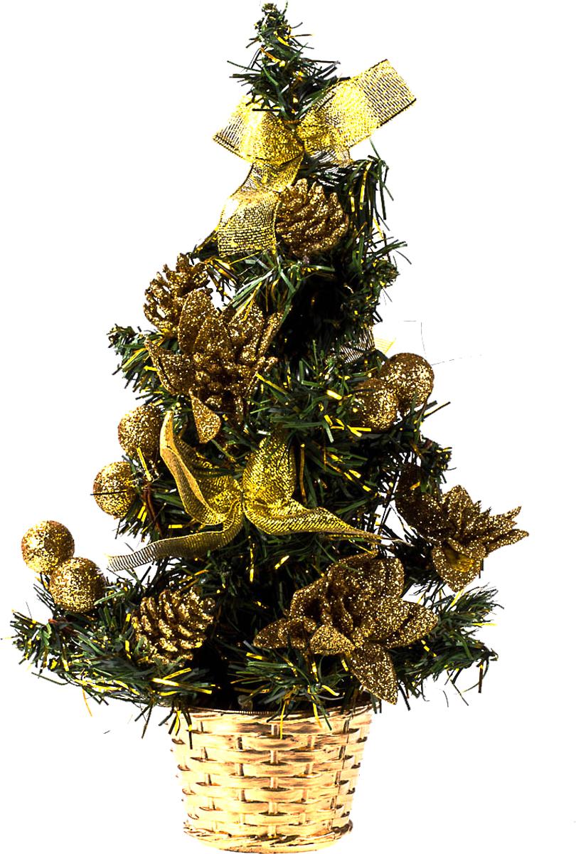 Елка настольная c игрушками Vita Pelle, 30 см. K11EL17035K11EL17035Милая наряженная елочка в корзинке украшена игрушками и мишурой. Она будет уместна и дома, и в офисе. Она преобразит пространство, подарив праздник и новогоднее настроение. Небольшой размер елочки позволит разместить ее где угодно.