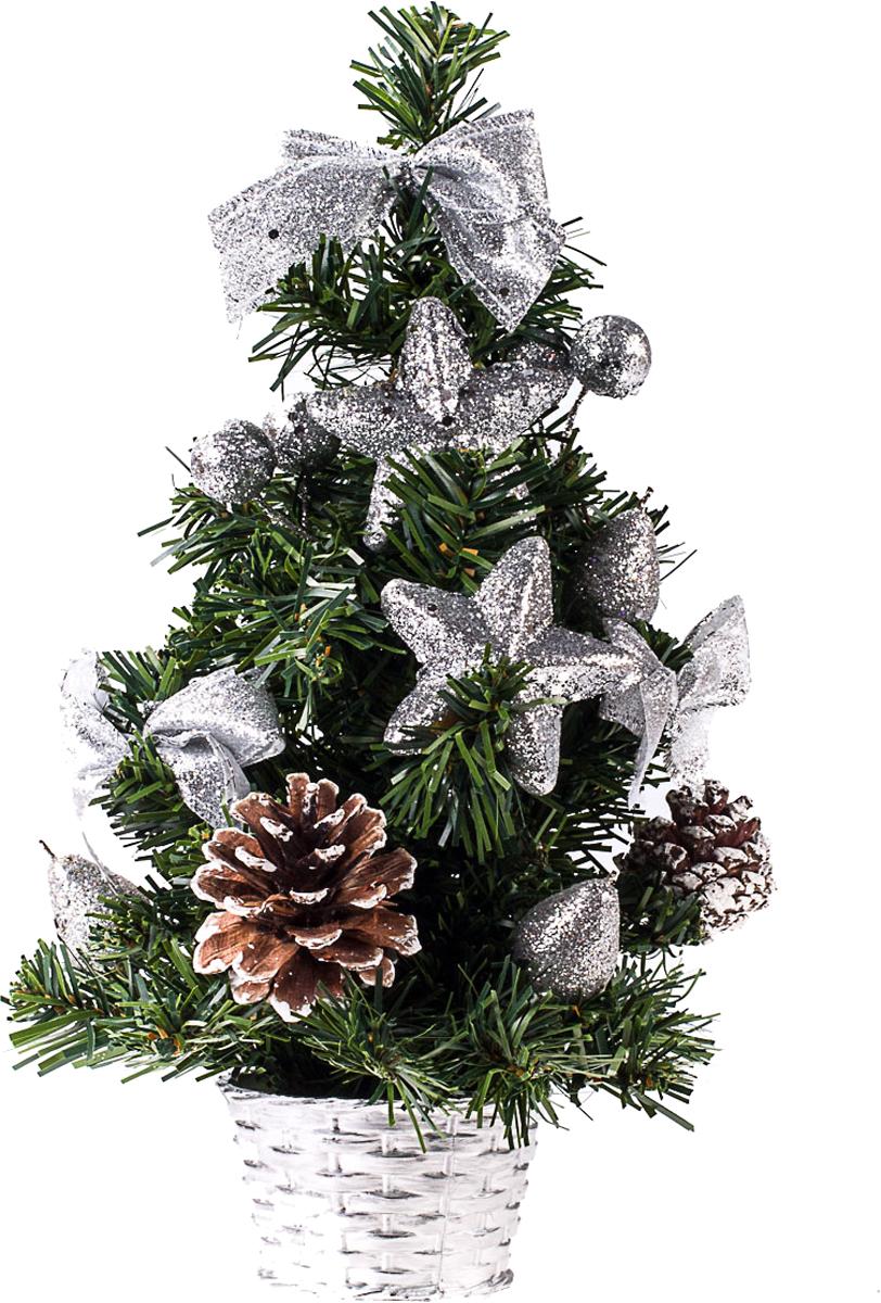 Елка настольная c игрушками Vita Pelle, 30 см. K11EL17037K11EL17037Милая наряженная елочка в корзинке украшена игрушками и мишурой. Она будет уместна и дома, и в офисе. Она преобразит пространство, подарив праздник и новогоднее настроение. Небольшой размер елочки позволит разместить ее где угодно.