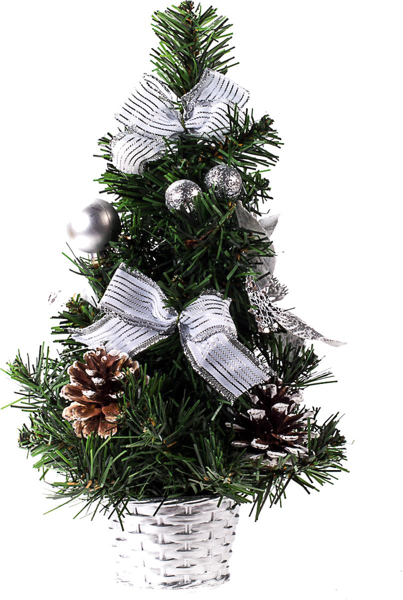 Елка настольная c игрушками Vita Pelle, 30 см. K11EL17038K11EL17038Милая наряженная елочка в корзинке украшена игрушками и мишурой. Она будет уместна и дома, и в офисе. Она преобразит пространство, подарив праздник и новогоднее настроение. Небольшой размер елочки позволит разместить ее где угодно.