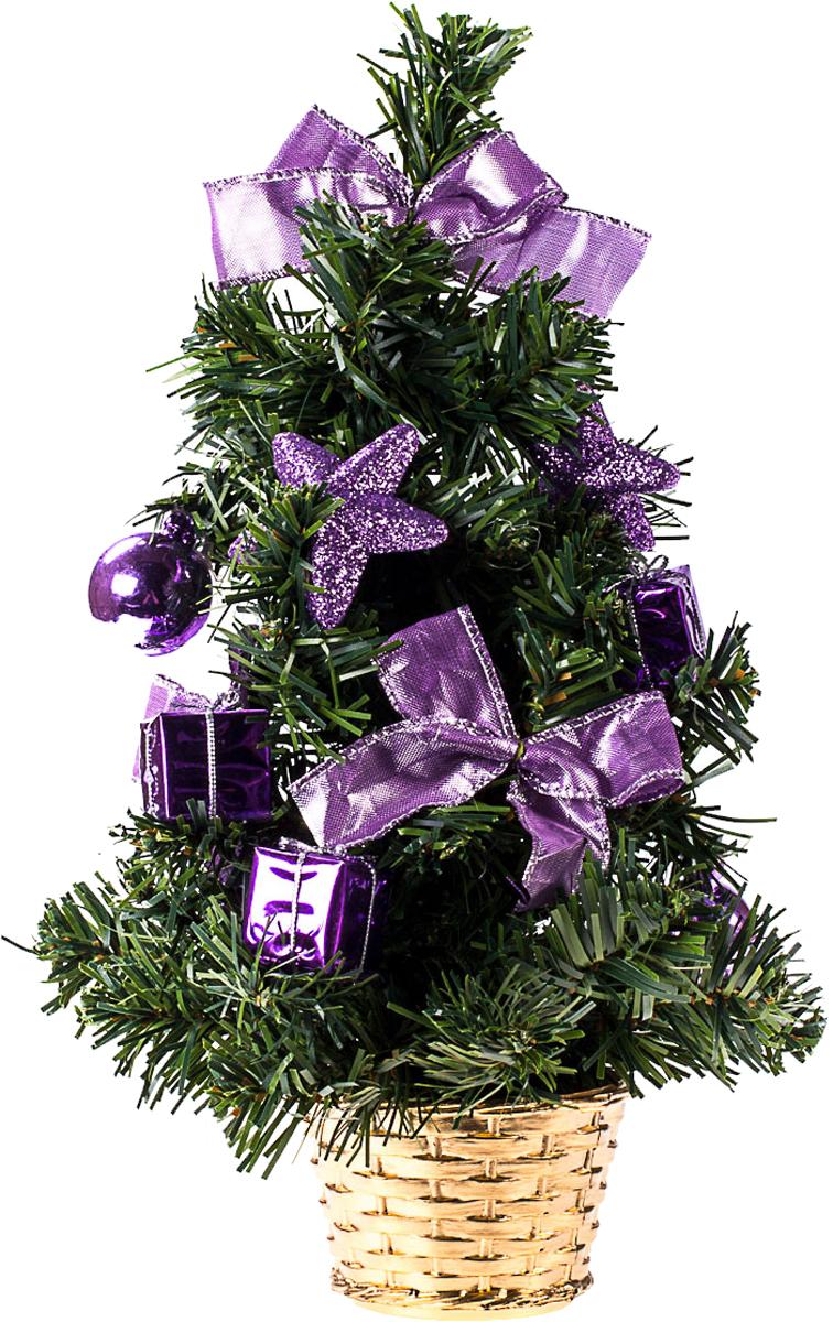 Елка настольная c игрушками Vita Pelle, 30 см. K11EL17040K11EL17040Милая наряженная елочка в корзинке украшена игрушками и мишурой. Она будет уместна и дома, и в офисе. Она преобразит пространство, подарив праздник и новогоднее настроение. Небольшой размер елочки позволит разместить ее где угодно.