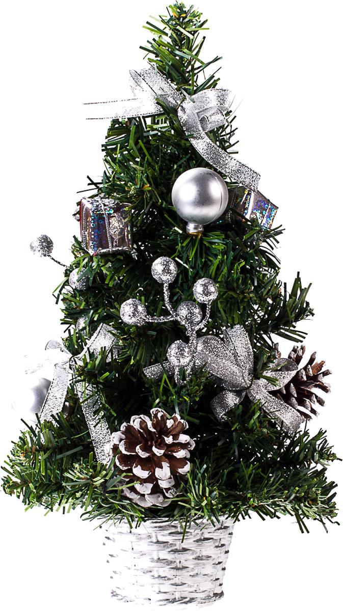 Елка настольная c игрушками Vita Pelle, 30 см. K11EL17049K11EL17049Милая наряженная елочка в корзинке украшена игрушками и мишурой. Она будет уместна и дома, и в офисе. Она преобразит пространство, подарив праздник и новогоднее настроение. Небольшой размер елочки позволит разместить ее где угодно.