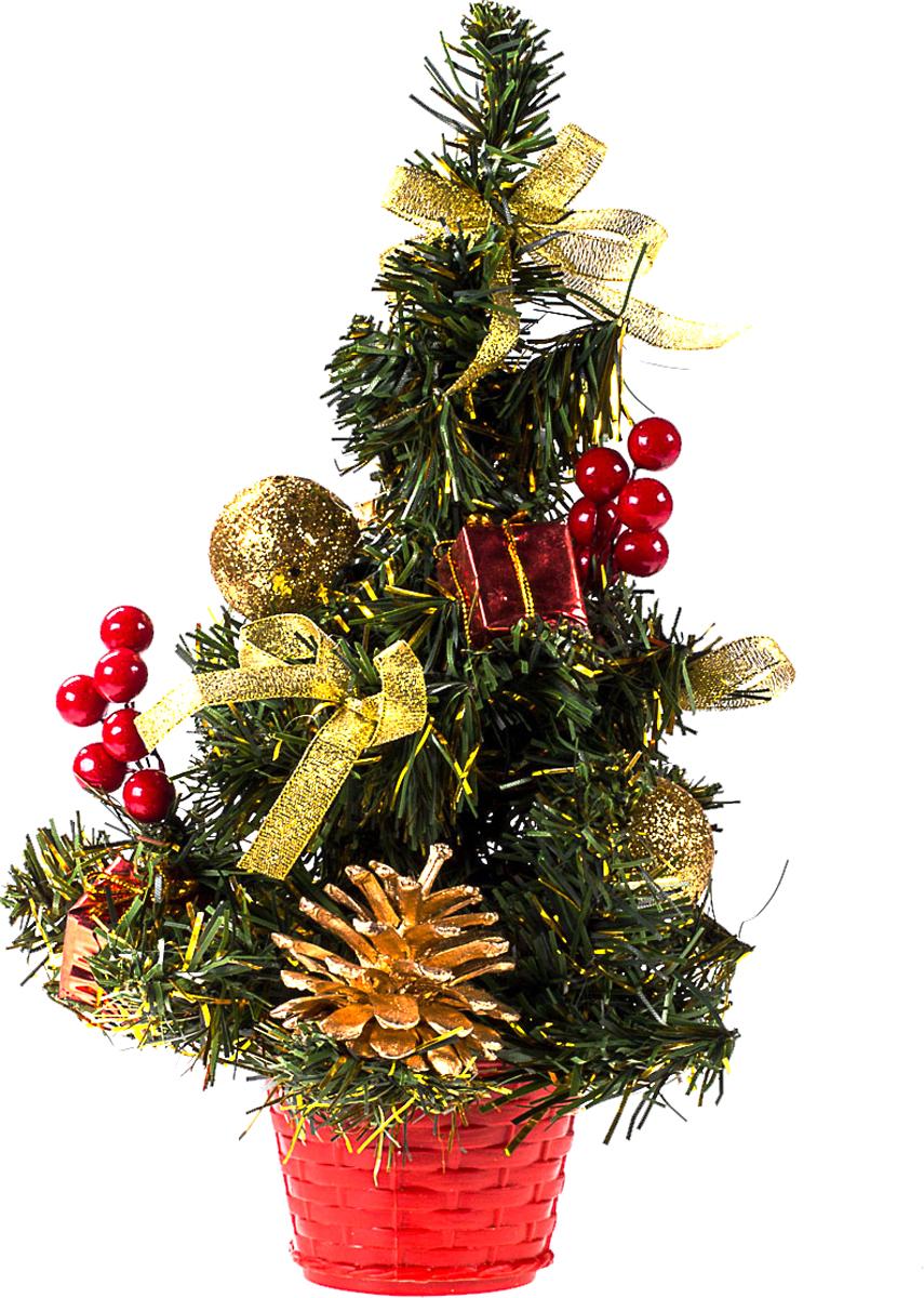 Елка настольная c игрушками Vita Pelle, 30 см. K11EL17050K11EL17050Милая наряженная елочка в корзинке украшена игрушками и мишурой. Она будет уместна и дома, и в офисе. Она преобразит пространство, подарив праздник и новогоднее настроение. Небольшой размер елочки позволит разместить ее где угодно.