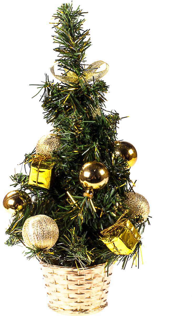 Елка настольная c игрушками Vita Pelle, 30 см. K11EL17051K11EL17051Милая наряженная елочка в корзинке украшена игрушками и мишурой. Она будет уместна и дома, и в офисе. Она преобразит пространство, подарив праздник и новогоднее настроение. Небольшой размер елочки позволит разместить ее где угодно.