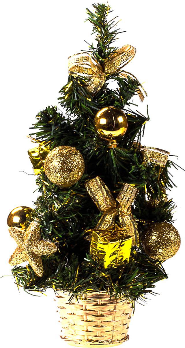 Елка настольная c игрушками Vita Pelle, 30 см. K11EL17053K11EL17053Милая наряженная елочка в корзинке украшена игрушками и мишурой. Она будет уместна и дома, и в офисе. Она преобразит пространство, подарив праздник и новогоднее настроение. Небольшой размер елочки позволит разместить ее где угодно.