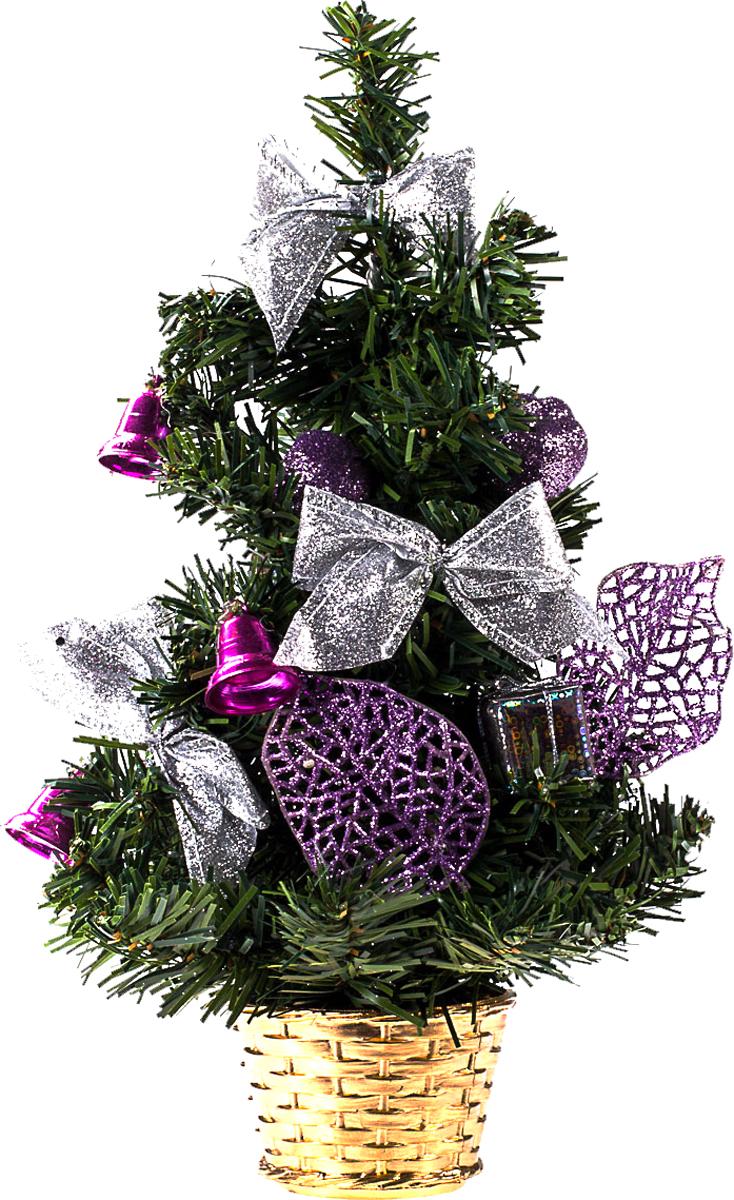 Елка настольная c игрушками Vita Pelle, 30 см. K11EL17057K11EL17057Милая наряженная елочка в корзинке украшена игрушками и мишурой. Она будет уместна и дома, и в офисе. Она преобразит пространство, подарив праздник и новогоднее настроение. Небольшой размер елочки позволит разместить ее где угодно.