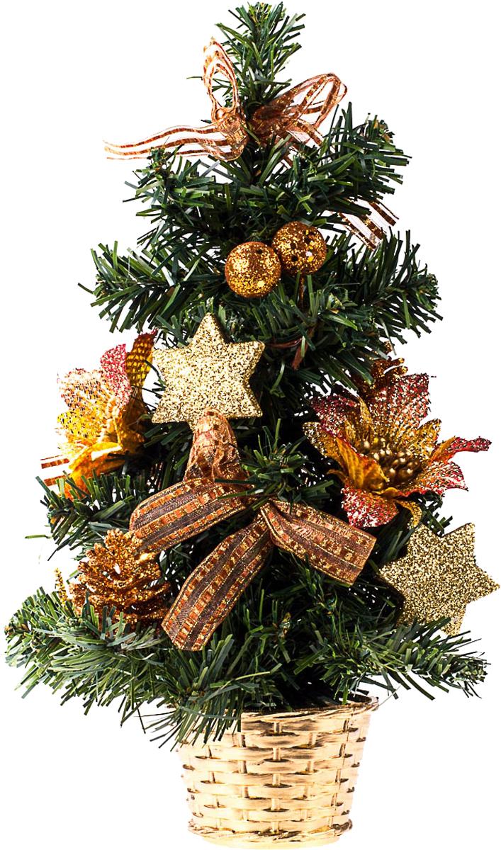 Елка настольная c игрушками Vita Pelle, 30 см. K11EL17058K11EL17058Милая наряженная елочка в корзинке украшена игрушками и мишурой. Она будет уместна и дома, и в офисе. Она преобразит пространство, подарив праздник и новогоднее настроение. Небольшой размер елочки позволит разместить ее где угодно.