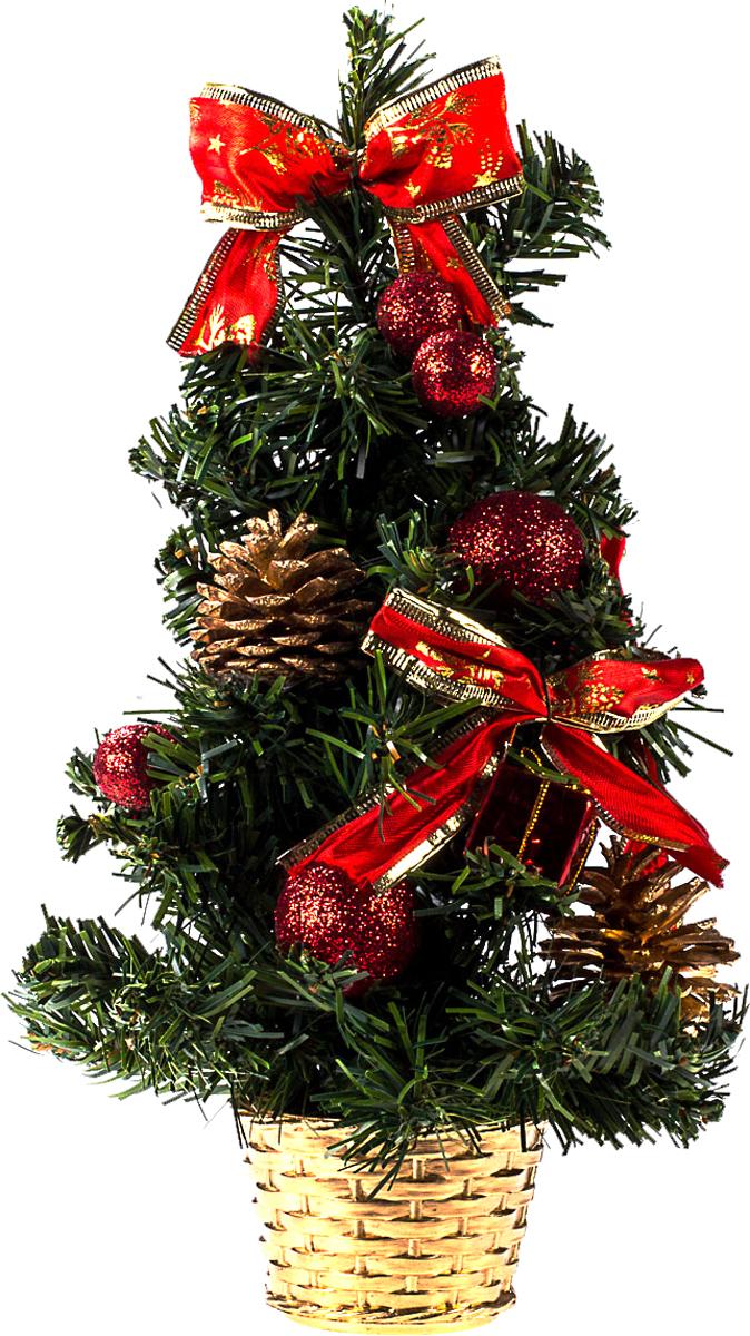 Елка настольная c игрушками Vita Pelle, 30 см. K11EL17059K11EL17059Милая наряженная елочка в корзинке украшена игрушками и мишурой. Она будет уместна и дома, и в офисе. Она преобразит пространство, подарив праздник и новогоднее настроение. Небольшой размер елочки позволит разместить ее где угодно.