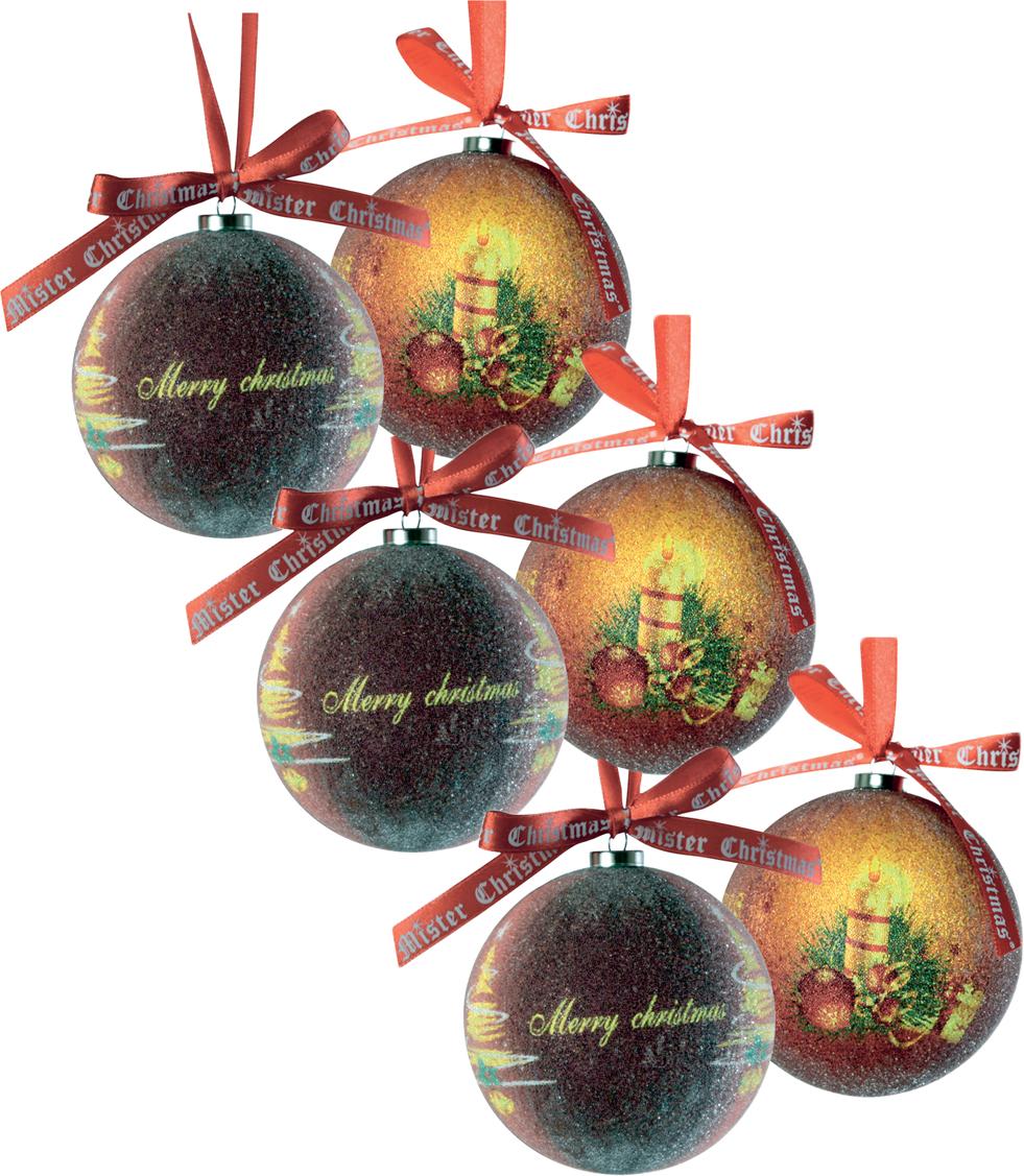 Набор новогодних подвесных украшений Mister Christmas Папье-маше, диаметр 7,5 см, 6 шт. PM-18-6TPM-18-6TНабор из 6 подвесных украшений Mister Christmas Папье-маше прекрасно подойдет для праздничного декора новогодней ели. Изделия, выполненные из бумаги и покрытые несколькими слоями лака, очень прочные и легкие. Такие шары создадут единый стиль в оформлении не только ели, но и интерьера вашего дома. В наборе игрушки имеют глянцевую поверхность и покрытые мелкой пластиковой крошкой. Все изделия оснащены атласной ленточкой с логотипом бренда Mister Christmas для подвешивания. Такие украшения станут превосходным подарком к Новому году, а также дополнят коллекцию оригинальных новогодних елочных игрушек.