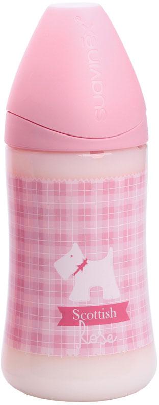 Suavinex Бутылочка Scottish от 6 месяцев с силиконовой соской цвет розовый 270 мл suavinex liberty пластик с силиконовой соской 0 6 мес 270 мл