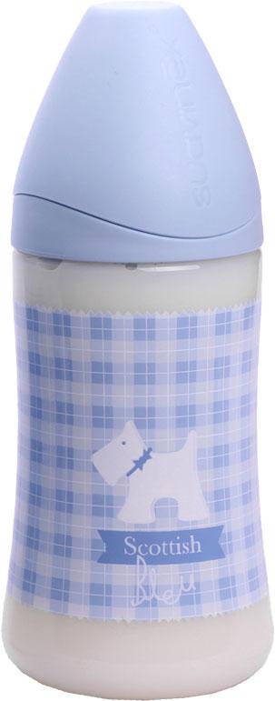 Бутылка Suavinex 270мл SCOTTISH с силиконовой анатом. соской, блед. голубой, принт бел. собачка suavinex scottish голубая 150 мл