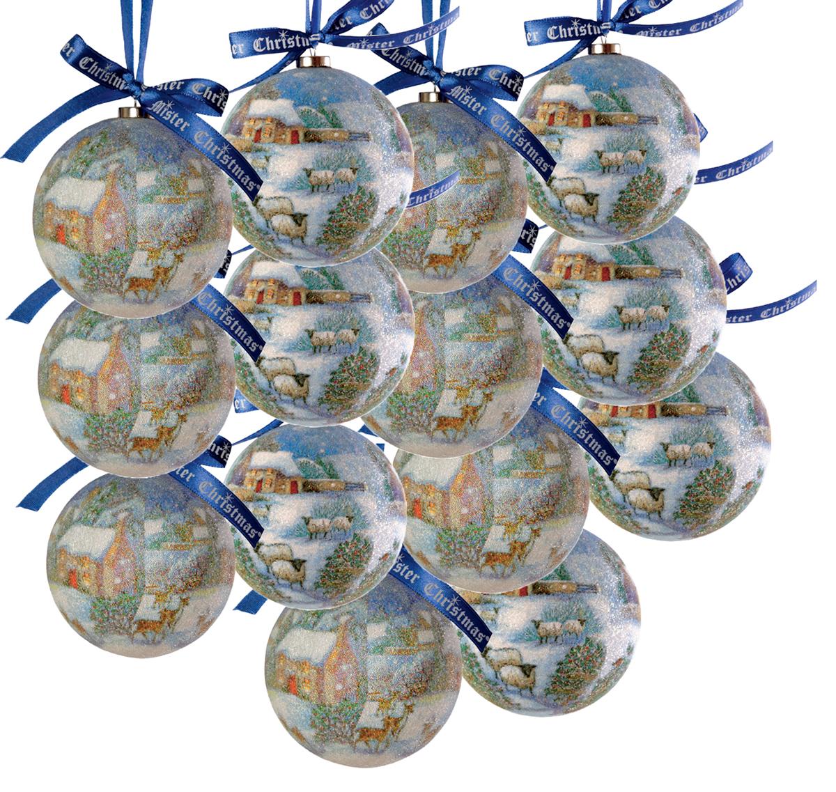 Набор новогодних подвесных украшений Mister Christmas  Папье-маше , диаметр 7,5 см, 14 шт. PM-12-14 -  Украшения
