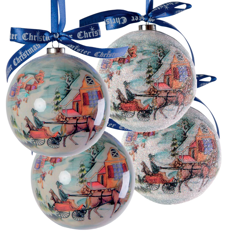 Набор новогодних подвесных украшений Mister Christmas Папье-маше, диаметр 7,5 см, 4 шт. PM-13-4PM-13-4Набор из 4 подвесных украшений Mister ChristmasПапье-маше прекрасно подойдет для праздничногодекора новогодней ели. Изделия, выполненные избумаги и покрытые несколькими слоями лака, оченьпрочные и легкие. Такие шары создадут единый стиль воформлении не только ели, но и интерьера вашего дома.В наборе игрушки имеют глянцевую поверхность ипокрытые мелкой пластиковой крошкой.Все изделия оснащены атласной ленточкой с логотипомбренда Mister Christmas для подвешивания.Такие украшения станут превосходным подарком кНовому году, а также дополнят коллекцию оригинальныхновогодних елочных игрушек.