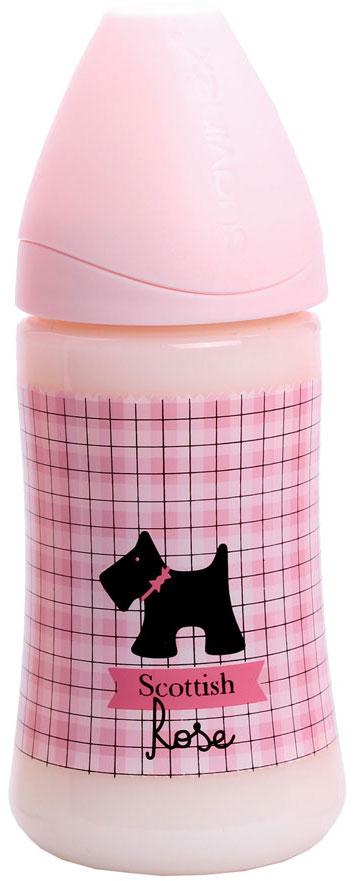 """Бутылка Suavinex 270мл """"SCOTTISH"""" с силиконовой анатом. соской, блед. розовый, принт чер. собачка"""