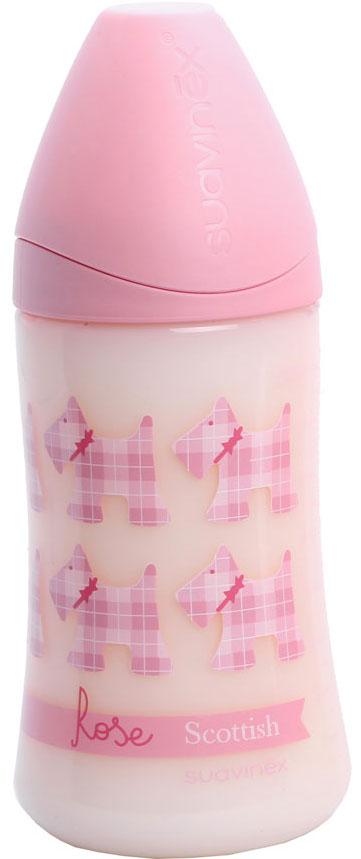 Бутылка Suavinex 270мл SCOTTISH с силиконовой анатом. соской, розовый, принт роз. собачки suavinex liberty пластик с силиконовой соской 0 6 мес 270 мл