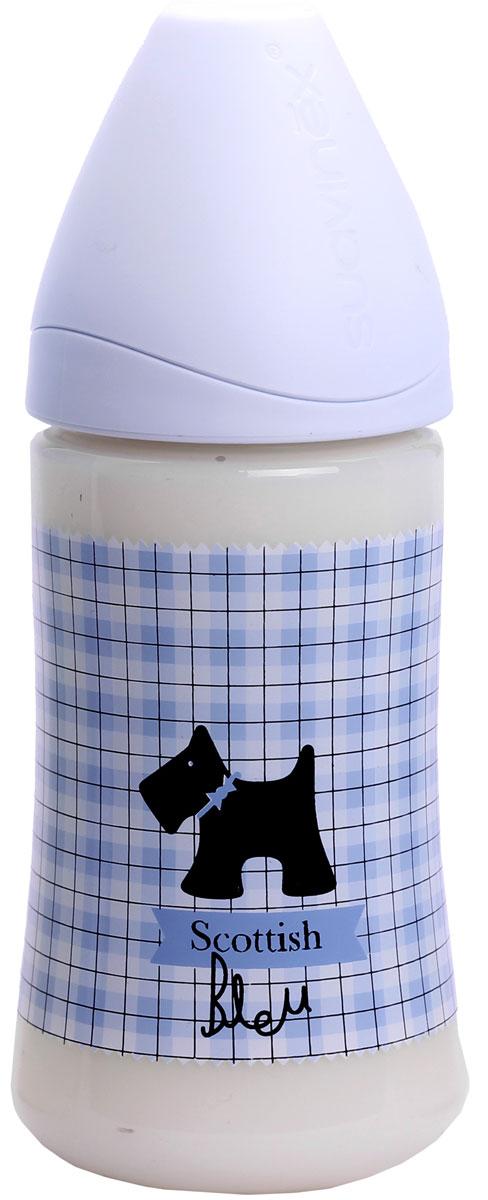 Бутылка Suavinex 270мл SCOTTISH с силиконовой анатом. соской, блед. голубой, принт черн. собачка suavinex scottish голубая 150 мл